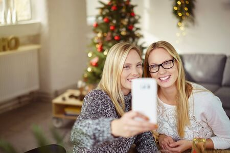 camaraderie: sisters taking a selfie while having christmas dinner at home Stock Photo
