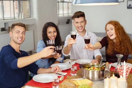 casual: Group of Four Professional Young Friends Having a Dinner Together, Holding Glasses of Wine and Smiling at the Camera. Stock Photo
