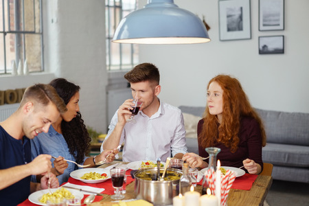 Group of Four Young Friends Enjoying their Dinner Together at Home as a Form of Celebration. Stock Photo