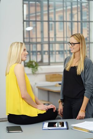 workmates: Two Young Pretty Female Workmates Talking at the Table Inside the Office. Stock Photo