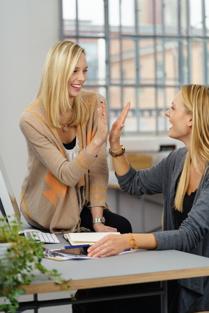 high: Two Young Successful Businesswomen Giving High Five at the Office Table with Happy Facial Expressions Stock Photo