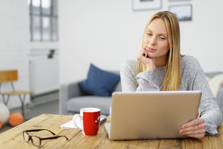 laptop home: relaxed young woman at home looking at her notebook Stock Photo