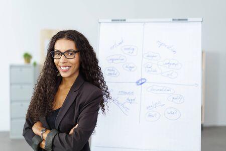 Confiado con experiencia exitosa empresaria joven afroamericano de pie con los brazos cruzados frente a un rotafolio como lo hace una presentación
