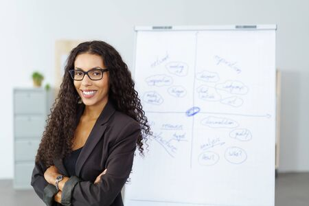 office presentation: Confident experienced successful young African American businesswoman standing with folded arms in front of a flip chart as she does a presentation Stock Photo