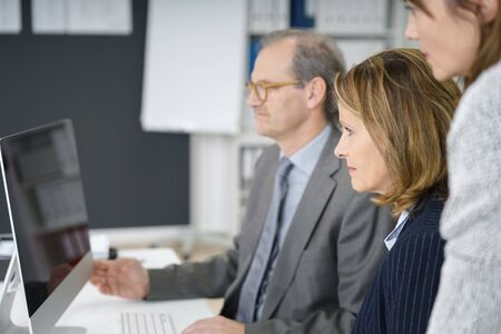 management team: management team with middle-aged man and two business women watching the computer screen Stock Photo