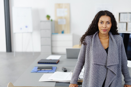 portrait of a successful female entrepreneur standing in the office, with copy-space