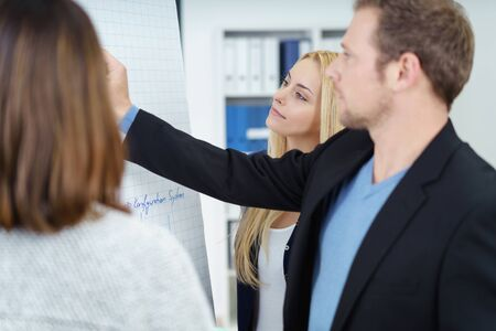 co operation: Three business colleagues in a meeting standing having a serious discussion grouped around a flip chart with focus to a young man