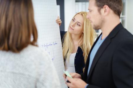 équipe commerciale réussie dans une réunion de réflexion debout autour d'un tableau de papier ayant une discussion avec des expressions graves, se concentrer à une jeune dame