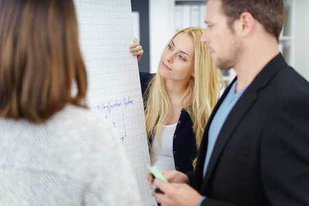 flip chart: Successful business team in a brainstorming meeting standing around a flip chart having a discussion with serious expressions, focus to a young lady