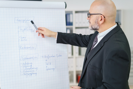 teaching: Side view of single mature businessman with beard, eyeglasses and bald head pointing at large chart with marker