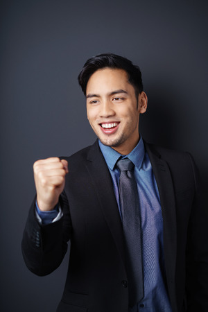 elated: Elated young Asian businessman cheering his success punching the air with his fist with a beaming smile Stock Photo
