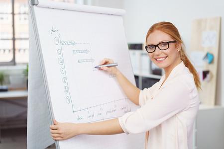 De negocios atractivo joven preparar una presentación de escribir notas en un rotafolio en la oficina de pasar a sonreír a la cámara Foto de archivo - 58822291