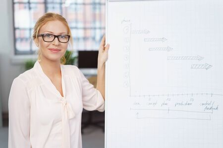 corporate women: Young businesswoman wearing glasses giving a presentation at work in the office standing alongside a flip chart smiling at the camera Stock Photo