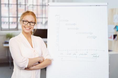 Sourire jeune femme d'affaires confiants debout avec les bras croisés à côté d'un tableau de papier avec des notes manuscrites comme elle donne une présentation