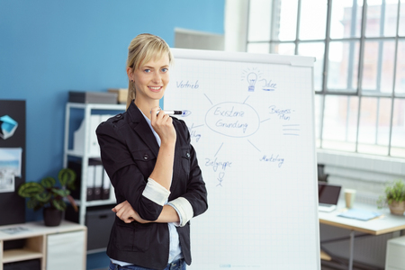 Happy successful businesswoman doing a presentation in the office standing alongside a flip chart smiling at the camera