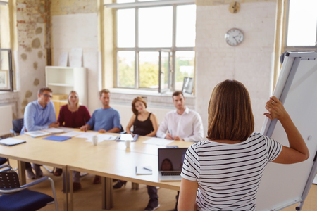 View from behind a businesswoman standing at a flip chart giving a presentation to colleagues seated at a conference table
