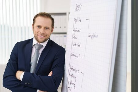 academie: Relaxed businessman with a friendly smile giving a presentation or in house training leaning against a flip chart with notes with folded arms