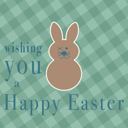 Wishing you a Happy Easter greeting card with a cute little winking bunny on a green checkered background with text, square format vector illustration Stock Photo