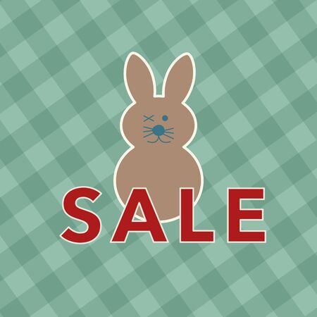Concept of easter sale with winking bunny against green grid Stock Photo