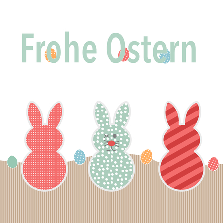 Easter greeting card with German text Frohe Ostern and three decorative little bunnies with stripes ad polka dots alternating with Easter eggs, vector illustration with copy space below