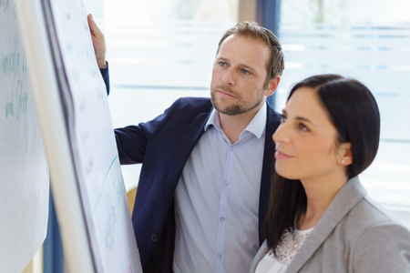 Successful business team studying a flip chart with a smartly dressed man and woman reading the analysis or notes with engrossed expressions