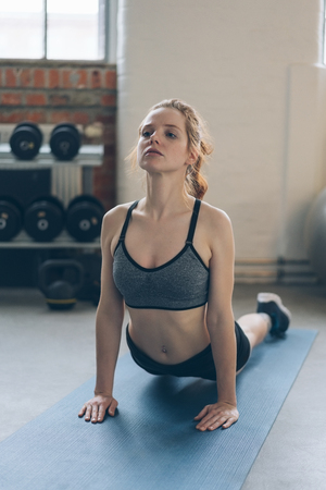 Young woman doing push ups in a gym balancing on her extended arms on a yoga mat to tone and strengthen her muscles in a health and fitness concept