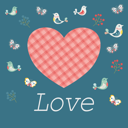 Pretty Mothers Day greeting card with a checked red and pink heart with decorative songbirds, butterflies and berries on a blue-green background with text - Love - also for Valentines and anniversary Banco de Imagens