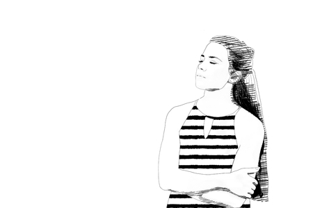 Black and white sketch of a serene young woman standing with folded arms and eyes closed facing towards blank copy space to the side
