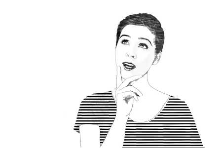 Black and white sketch of a young woman thinking looking up with her mouth open and hand to her chin with copy space alongside