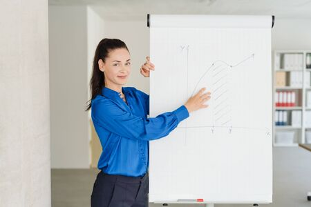 Young businesswoman giving a presentation using a flip chart to demonstrate her ideas or statistics Stock fotó