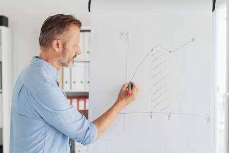 Business leader giving a presentation or lecture in the office writing on a flip chart with statistical graph