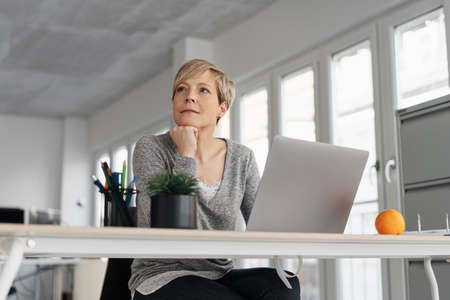 Thoughtful mature blonde woman sitting in front of computer at office Banque d'images