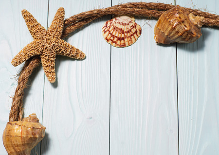 star fish and sea shells on the wooden blue background.