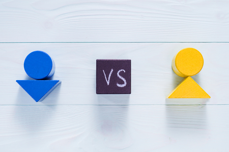 Abstract male versus female, top view. Gender problem. The concept of misunderstanding, barrier in relations, denial of society. Barriers between people, prejudice. Stock Photo