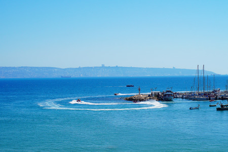 View from old city of Acre (Akko, Acco), with the marine and open sea, Israel.