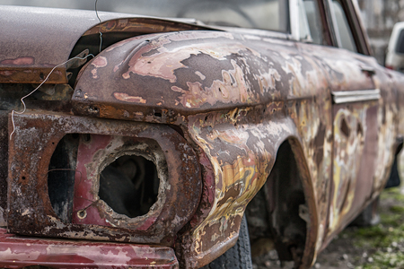 Rusty Old Car. Abandoned vintage car. Stock Photo