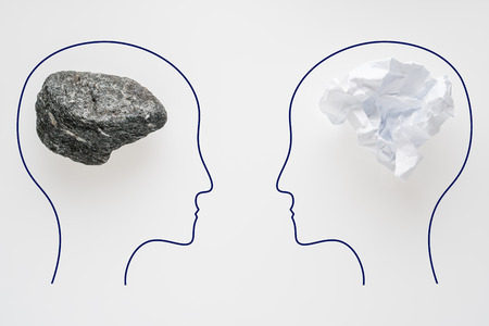 Heads of two people with crumpled paper brain shape and stone brain shape. Two people with different thinking. Rational and irrational thinking. Idea and teamwork. Creative business concept. Standard-Bild - 106354204