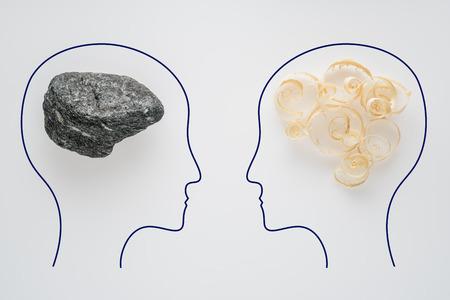 Têtes de deux personnes avec forme de cerveau de sciure de bois et forme de cerveau de pierre. Deux personnes avec une pensée différente. Pensée rationnelle et irrationnelle. Idée et travail d'équipe. Concept d'entreprise créative. Banque d'images