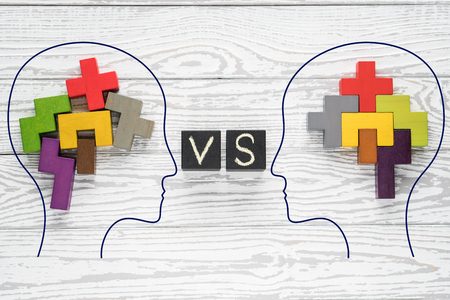 Human brain concept. Heads of two people with colourful shapes of abstract brain for concept of idea and teamwork. Two people with different thinking.