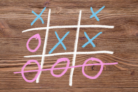 Tic tac toe (OX) game., The concept of strategy, risk, competition in business. Фото со стока