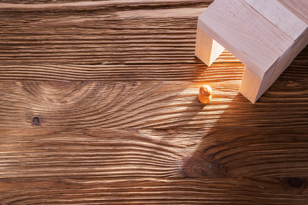 Abstract man into the wooden corridor with copy space. Concept of success. Abstract man in a wooden tunnel.