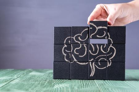 El concepto de cerebro humano. Educación, ciencia y concepto médico. Cerebro dibujado con tiza en cubos negros. Manos femeninas ponen en su lugar el último elemento del rompecabezas.