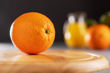 Orange fruit on wooden table. Healthy food concept. Stockfoto