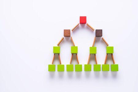 Geschäftsmetapher. Konzept des Geschäftslernerfolgs. Hierarchie- oder Organigrammkonzept. Struktur des Unternehmens- und HR-Pyramidenkonzepts. Standard-Bild