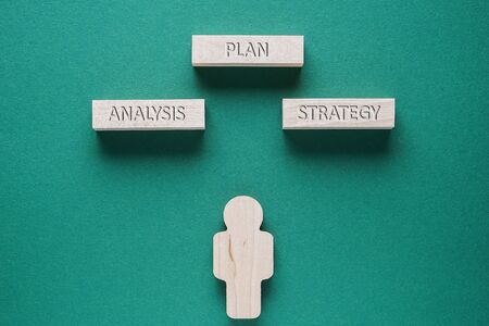Abstract man with words of Plan, Analysis, Strategy - business concept. Reklamní fotografie