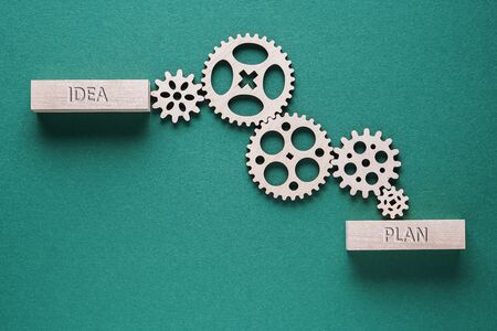 Abstract background with connected gears working together, from idea to plan. Creative development process. Business concept.