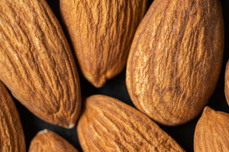 Almond nuts, close up. Almonds background.