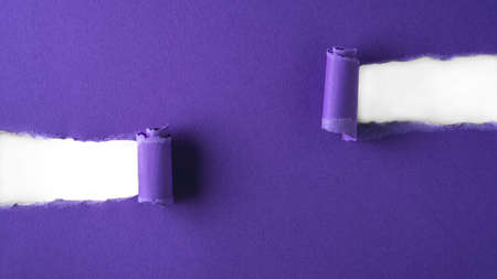 Violet paper is torn over white background for message. Template for your text.