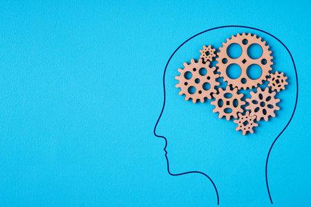 Gear wheel, human brain concept. Man with a gear mechanism in the head. Reklamní fotografie