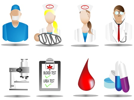 computer health: hospital and medical icons